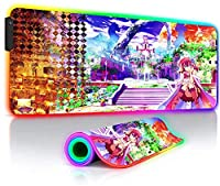 マウスパッド ゲームなしライフゲーミングマウスパッドRGBラージアニメゲーマーXXLLEDバックライト付きPCキーボードデスクマットプレイマット23.6x11.8インチ
