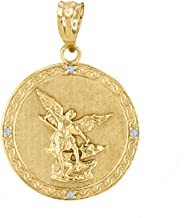 14k Yellow Gold Saint Michael The Archangel Diamond Medal Pendant (1