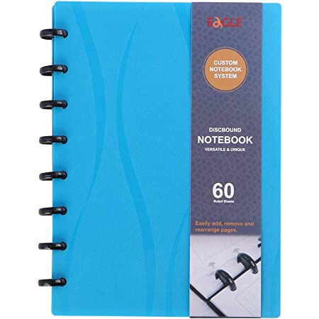TUL Custom Discbound Notebook Letter Size Leather black and green blue