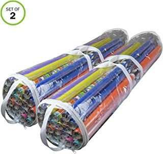 Evelots Gift Wrapping Bag/Organizer-Clear Plastic-Handles-Up to 50 Rolls-Set/2