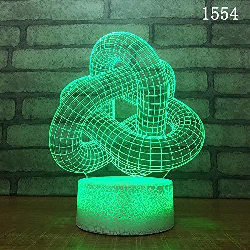 Estratto forma geometrica pipeline tubo stereoscopico lampada da tavolo 3D luce notturna giocattoli adorabili cartoni animati decorazione regalo per bambini