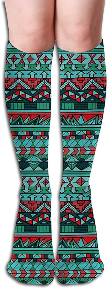 Men's and Women's Funny Casual Combed Cotton Socks,Hand Drawn Aztec Design Geometric Pattern with Sharp Shapes and Stripes