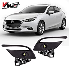 Winjet WJ30-0540-09 2017 2018 Mazda 3 LED Clear Fog Light with OE Fitment Bezel Wiring Switch Pair Kit