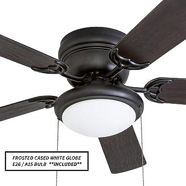 """Portage Bay 50251 Hugger 52"""" Matte Black West Hill Ceiling Fan with Bowl Light Kit"""