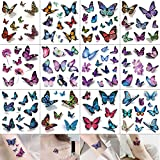 besharppin 3D Butterfly Temporary Tattoos, 12 Sheets Tattoo Stickers for Women Kids and Items Decoration