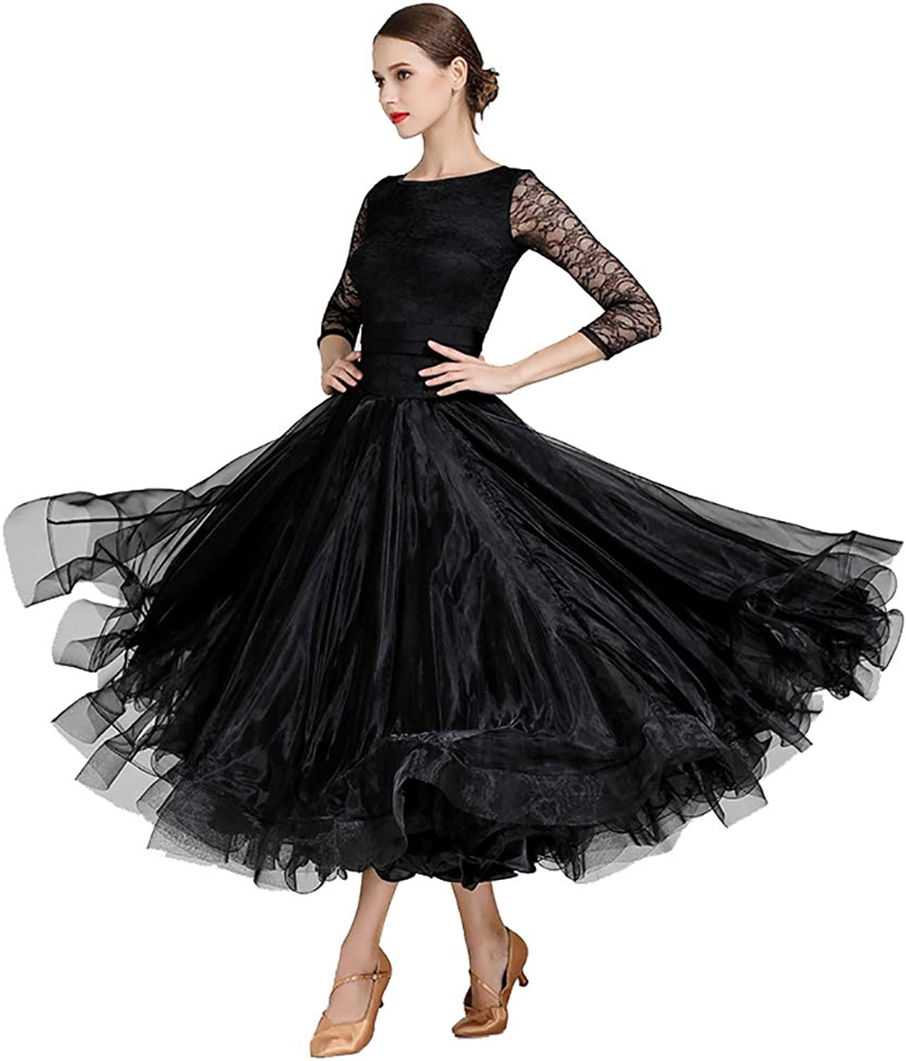 Women's Lace Dance Skirt Pleated Long Sleeves Adult Dresses Round Neck Flexible Stage Costumes Elegant Party Competition Dress