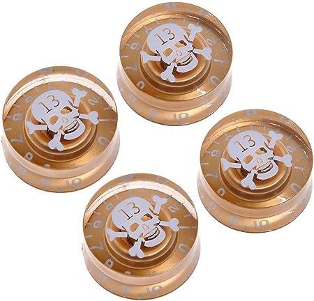 Musiclily 6mm プラスチック製 楽器レスポールギター用スピードノブグルノブ、ゴールド/白い頭蓋骨(4個入)