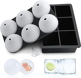Grosse Eiswürfelform Silikon Eiswürfelbehälter mit Deckel, 6-Fach 2 Stück Große Eiswürfelformen, Quadratische und Eiskugelform Eiswürfelschalen für Whisky Cocktails Saft, BPA-Frei