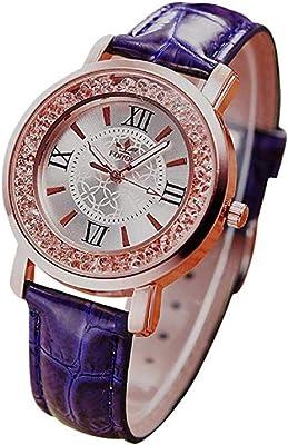 Noopvan Women Watches Ladies Fashion Dress Wrist Quartz Watches with Rhinestone Leather