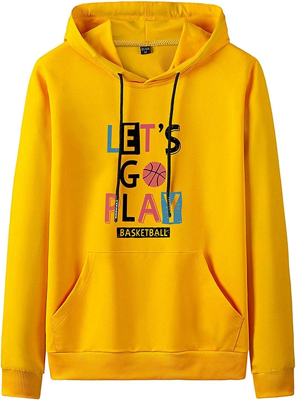 Huangse Basketball Hooded Sweatshirt for Men Unisex Sports Hoodie Fashion Drawstring Pullover Kangaroo Pocket Sweatshirt