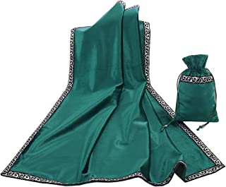 BLESSUME Altar Tarot Table Cloth Divination Wicca Velvet Cloth with Tarot Pouch (Green)