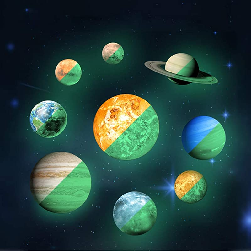 Glow In The Dark Stars Stickers Watercolor 9 Glowing Planets Wall Stickers With Moon And 2pcs Asteroid 28pcs Stars And 12pcs Shooting Stars For Kids Bedroom Living Room Shining Space Decoration
