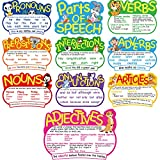 10 Pieces Parts of Speech Poster Grammar Poster Educational Grammar Cutouts Bulletin Board Set with 100 Adhesive Glue Point Dots for Student Classroom School, 16.5 x 11.5 Inches