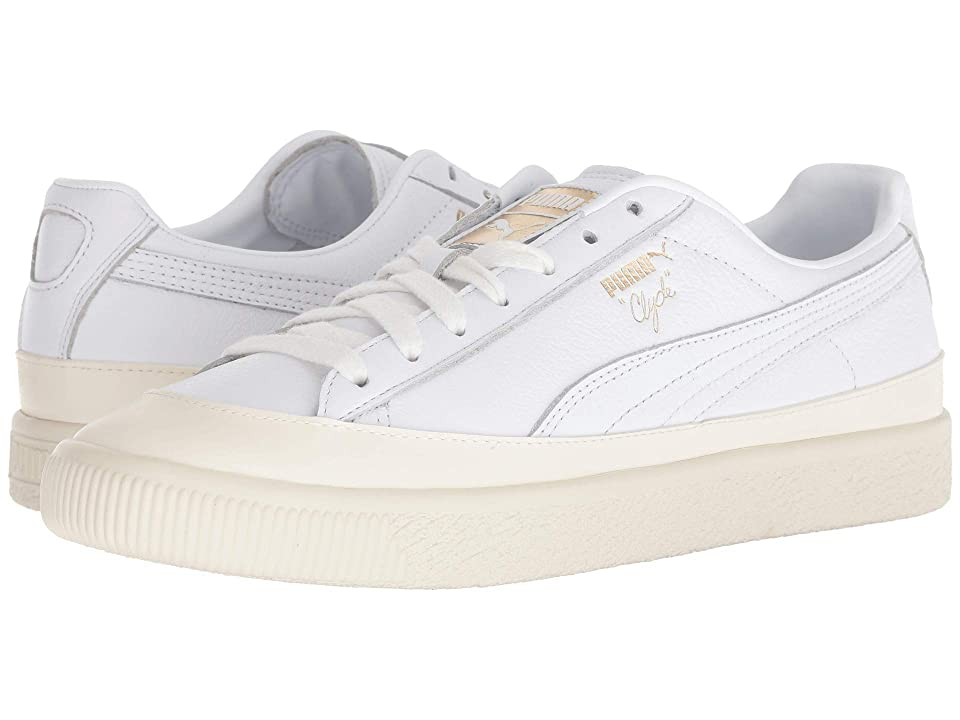PUMA Clyde Rubber Toe Leather (Puma White/Whisper White) Men