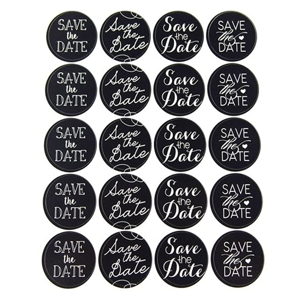 Homeford Firefly Imports Save The Date Chalkboard Seal Stickers, 1-Inch, 40-Pack
