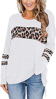 OULSEN Women Fashion Splice Leopard Print T-shirt Loose Casual Crew Neck Long Sleeve Split Blouse Tunics Long Top