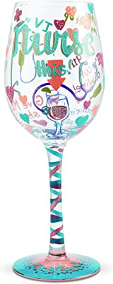 Enesco 6006294 Designs by Lolita Nurse This Hand-Painted Artisan Wine Glass, 15 Ounce, Multicolor