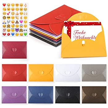 HANSGO Gift Card Envelopes, 100PCS 4 x 2.8 inch Cute Envelopes Small Gift Card Holders Mini Assorted Colors Seed Envelopes with Heart Shaped Clasp