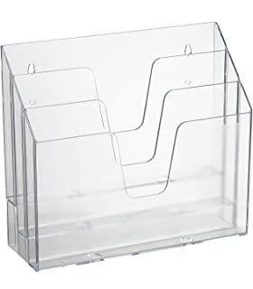 Acrimet Horizontal Triple File Folder Organizer (Clear Crystal Color)