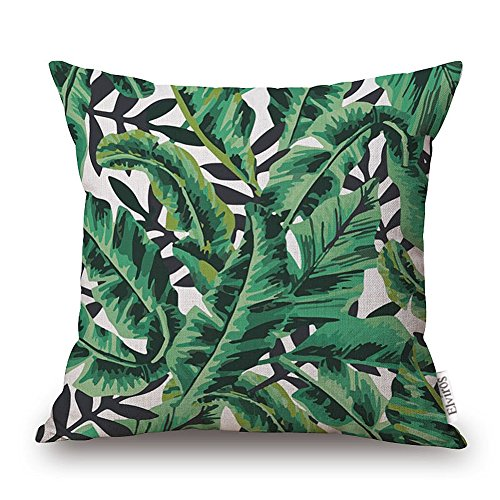 Elviros Dekorativ Baumwoll Leinen Mix Kissenbezug 45 x 48cm - Tropische Blätter