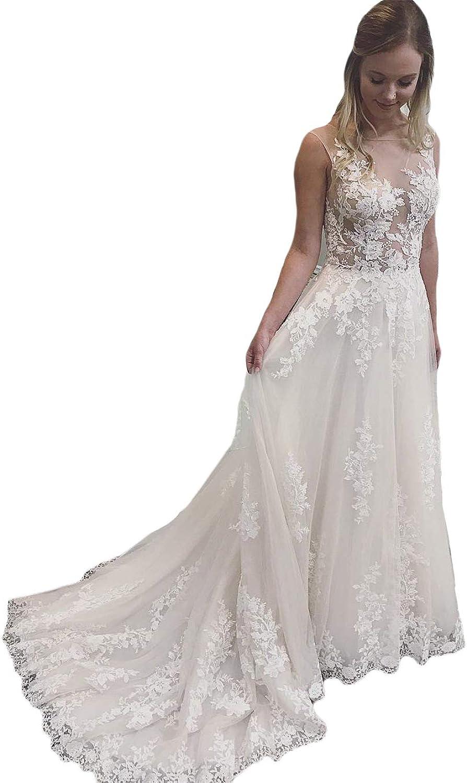 Dreagel Aline Lace Wedding Dresses Illusion Sleeveless Bridal Dress for Women