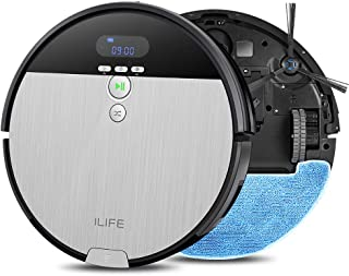 ILIFE V8s Robot Vacuum Cleaner and Mop Combo, XL 750ml Dustbin, Designed for Hard Floors & Pet Hair,Self-Adjustable Suction Nozzle, Tangle-Free Design, Slim & Quiet, Self-Charging