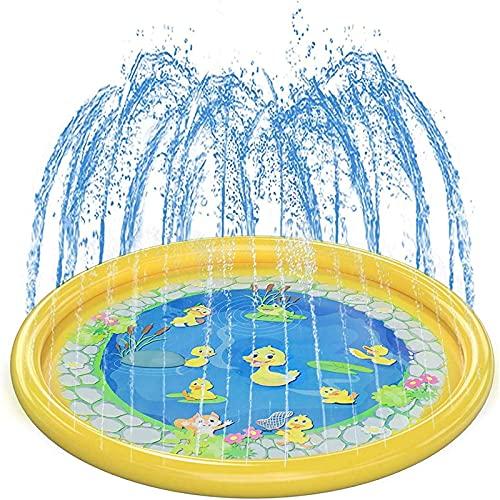 MWXFYWW Tapete de Juegos de Agua, Splash Pad Impermeable para Niños Familiares Playa Jardín, Juguetes Inflables de Agua Tapete de Aprendizaje para Bebés, Niños Pequeños y Niños(Color:Yellow)