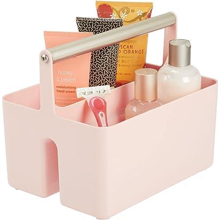 mDesign panier de rangement en plastique et métal pour salle de bain – boite avec poignée pour rangement maquillage – caisse de rangement avec 2 compartiments – rose et argenté mat