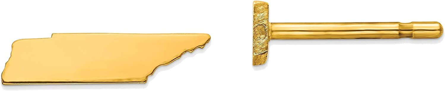 14kt Yellow Gold TN Small State Earring