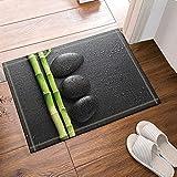 FEIYANG Cubiertas de Arte en alfombras de baño Zen y bambú Alfombras Antideslizantes Entradas al Aire Libre Alfombra de la Puerta Delantera para Interiores 60X40CM Alfombra de baño