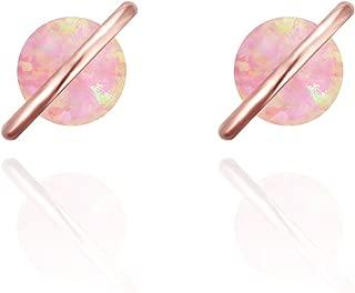 Planet 18K Rose/White/Yellow Gold Plated Dainty Opal Stud Earrings, White/Green/Pink Opal Earrings