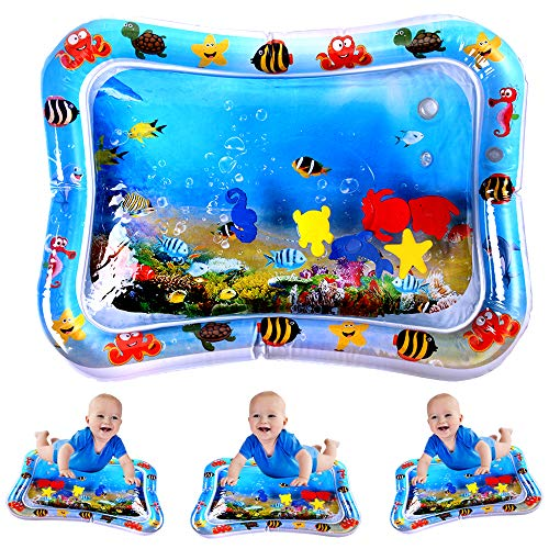 JUOIFIP Inflatable Tummy Time Premium Water Mat Infants & Toddlers, The Perfect Fun Time Play Activity Center Your Baby's Stimulation Growth ( 26' X20'' )