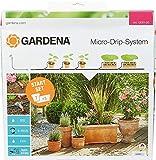 Gardena 13001-20 Set de inicio para macetas M, práctico, con sistema de riego por goteo Micro-Drip para 7 macetas y 3 tinajas, riego con ahorro de agua