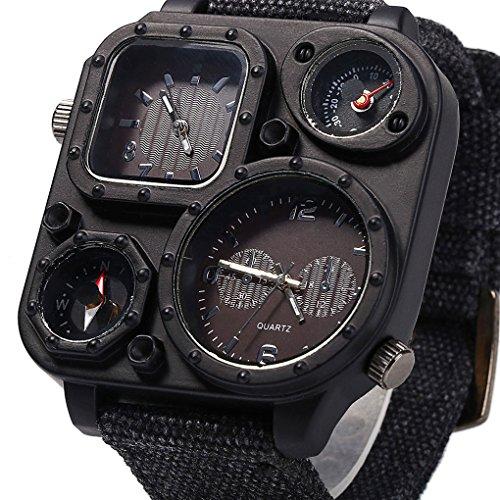 LYN&xxx Sport-Uhr-Militäruhren und wasserdichte beiläufige Uhr Thermometer Kompass mit Anzeige zweier Zeitzone - Schwarz,Schwarz