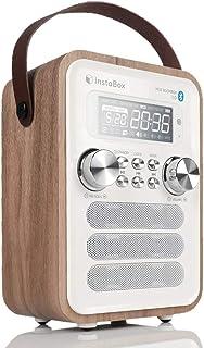 InstaBox i10 Altavoz Bajo Pesado de Bluetooth de la Radio de Madera con la Manija, Altavoces Inalámbricos Bluetooth 4.0 con la Radio FM, Diseño Retro Ligero para la Decoración del Estilo Moderno