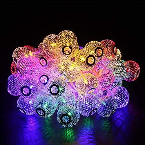 XXLYY Solar Ball Metal String Lights, 4.8M 20LED Lantern String Lights Solar Globe Fairy Light Waterproof for Garden (Blue)