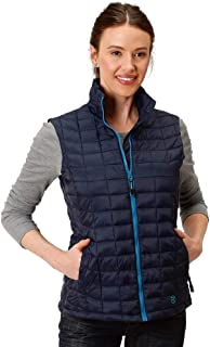 Roper Western Vest Womens Down-Like Quilted Zipper 03-098-0685-6115 BU
