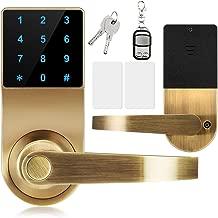Lock,Xinda Door Lock with Touchscreen Keyless,Door Control Keyless with Adjustable Hand.Password Lever Door Lock,Remote Control + Password + Card + Metal Key,Perfect for Office & Home Gold …
