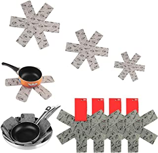Pot Dividers Pad,Pot and Pan Protectors,Set of 12 and 3 Different Size, Cookware Protector Set/Pots and Pans,for Protectin...