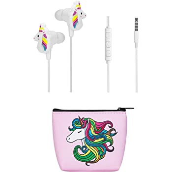 Kids Earbuds for Girls, TMHH Unicorn Headphones with Cute Earphone Bag, Microphone, Volume Control for School Travel Home (Pink)