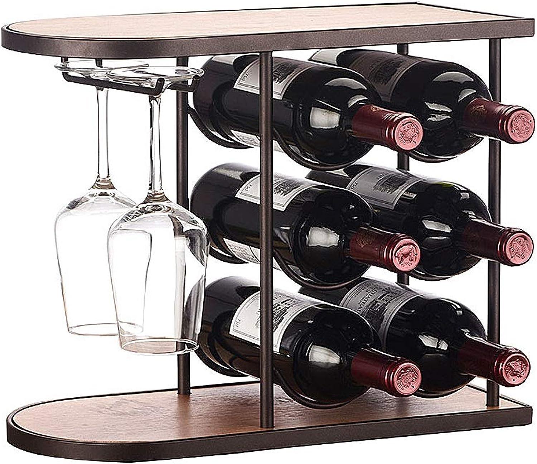 Wine Rack Wine Holder Metal Wine Rack Decorations Home Interior Decoration Safe and Stable Storage Wine Rack - with Cup Holder (color   Black, Size   40  18.5  32CM)