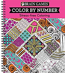 Brain GamesR Color By Number Stress Free Coloring Pink