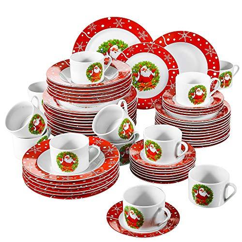 VEWEET, Série SANTACLAUS, Service de Table en Porcelaine Fête Noël, 60 Pièces pour 12 Personnes, Inclus Assiettes Plates, Assiettes Creuse, Assiettes à Dessert, Service à Café,