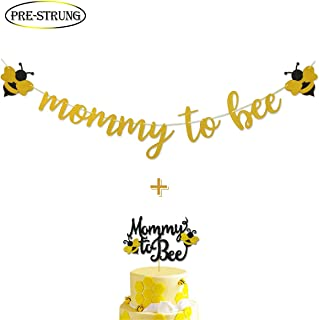 Mommy to Bee Gold Glitter Banner for Bumble Bee Baby Shower Gender Reveal Party Decoration