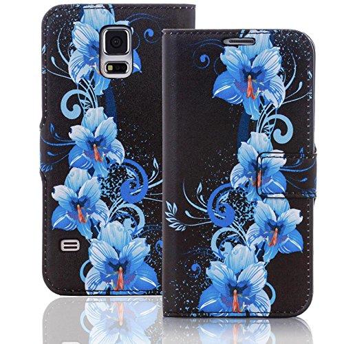 numerva Handyhülle kompatibel mit Huawei Ascend Y530 Hülle [Blue Flower Muster] Hülle Ascend Y530 Handytasche