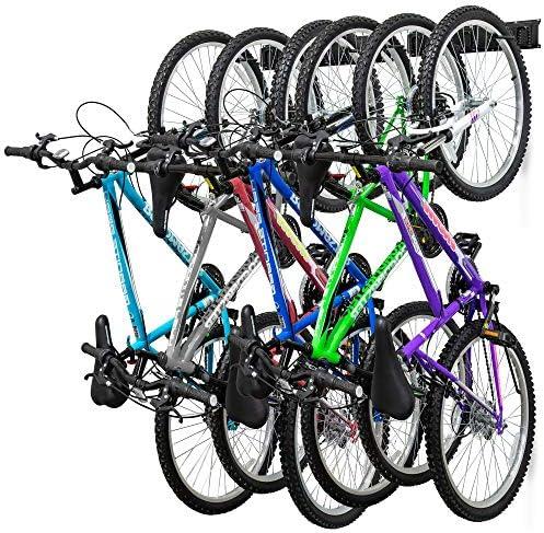 RaxGo Garage Bike Rack Wall mounted Bicycle Storage Hanger 6 Adjustable Hooks Universal for product image