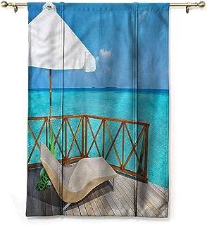 Blackout Tie Up Curtain Coastal,Water Villa Maldives View,35