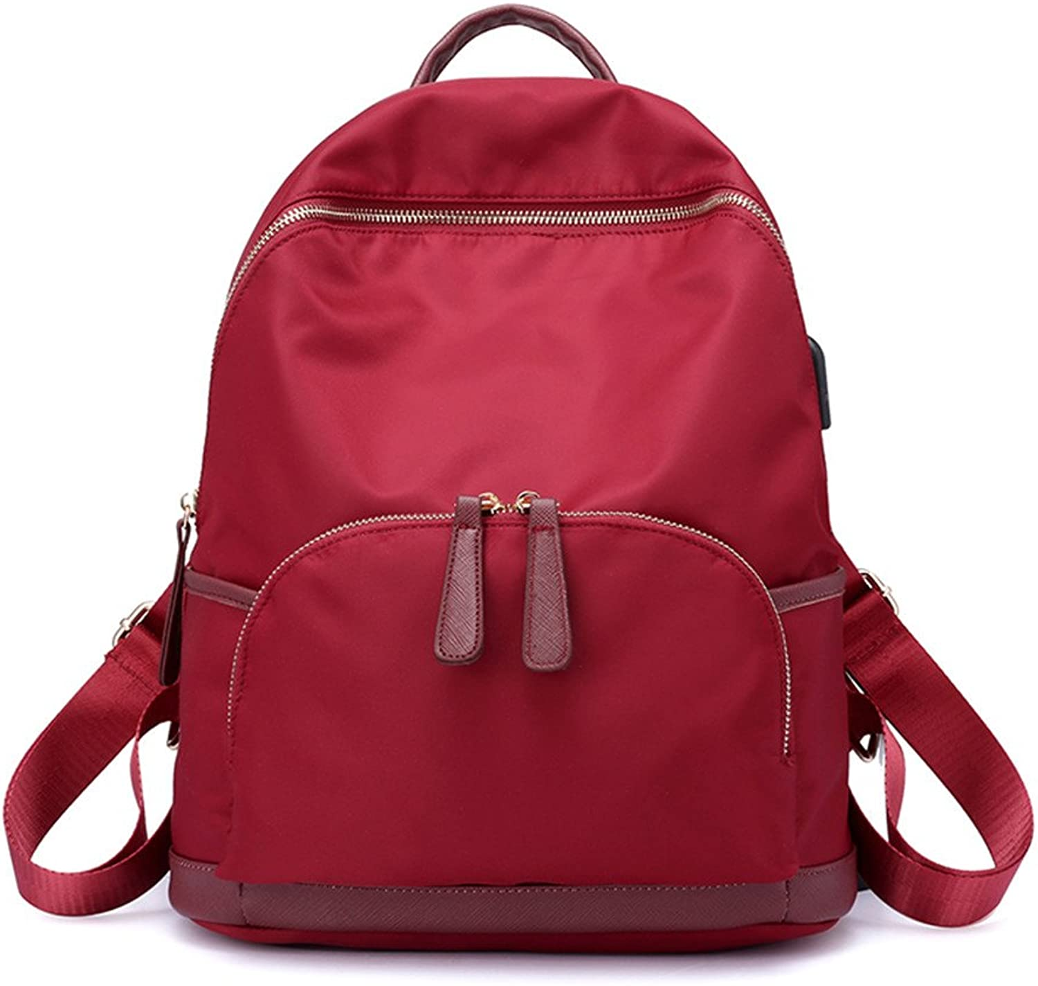 Large Capacity Double Shoulder Bag Female Leisure Oxford Cloth Canvas Bag Lady Backpack,Gules,35X29X16CM