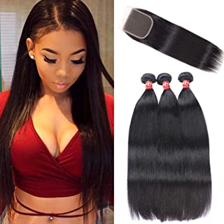 Haha Brazilian Straight Hair 3 Bundles With Closure Unprocessed Brazilian Virgin Human Hair Bundles With Lace Closure Free Part Hair Extensions Natural Color 28 28 30+26