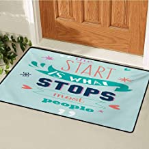 GUUVOR Quotes Inlet Outdoor Door mat Encouraging Classic Phrase Notes The Start is What Stops Most People is Catch dust Snow and mud W31.5 x L47.2 Inch Pale Blue Seafoam